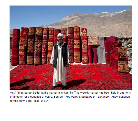 An Afghan carpet trader at the market in Ishkashim