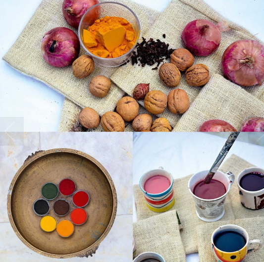 Various sources of yarn natural color dyes — extracted from plants, rocks, minerals, nuts, barks of trees, among other sources—have a finer patina and last longer compared to chemical dyes. The powdered natural ingredients are turned into liquid dyes