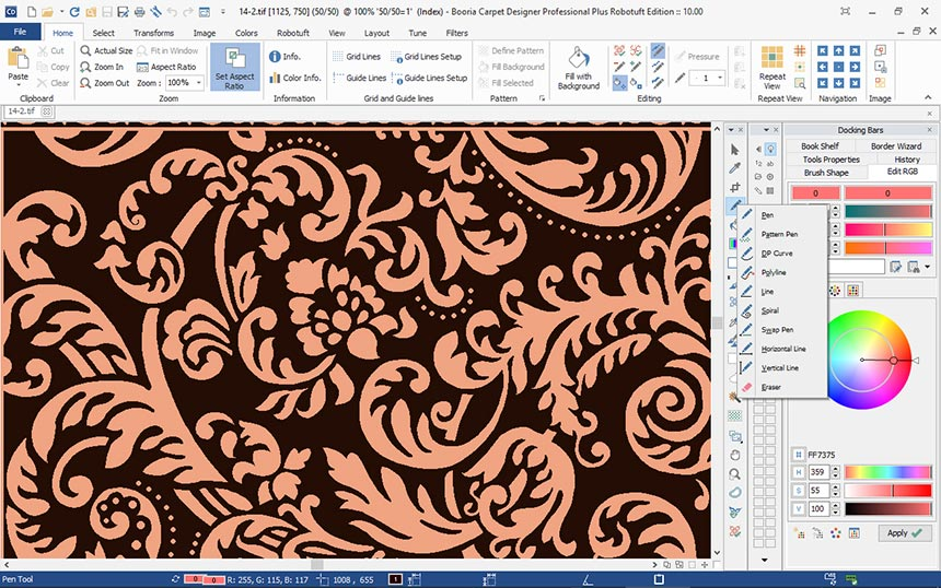 Designing various flower motifs via modern software for handmade rug production.
