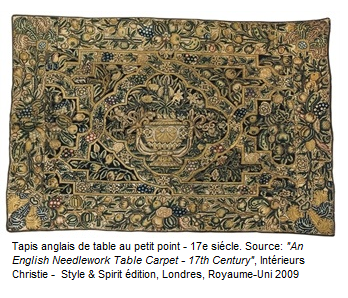 Tapis anglais de table au petit point