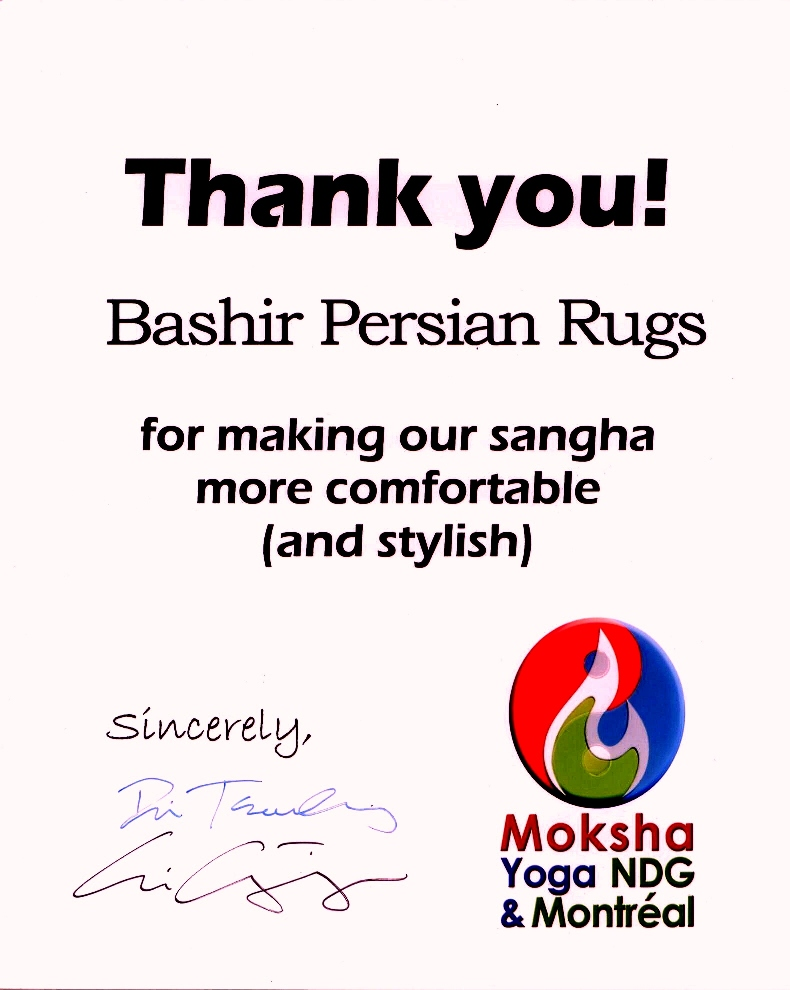 Thank You letter received from Moksha Yoga in NDG & Montreal for carpet rental services they received from us.