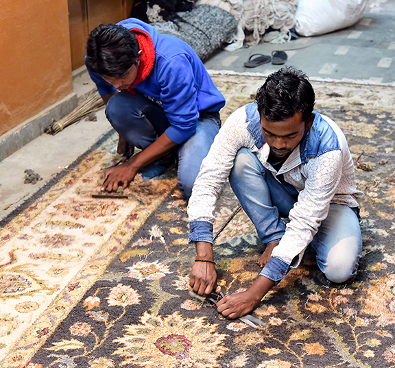 Indian men perform traditional carpet trimming. Some of the most impressive examples of paramount workmanship on antique rugs are seen on rugs made in Agra, India.