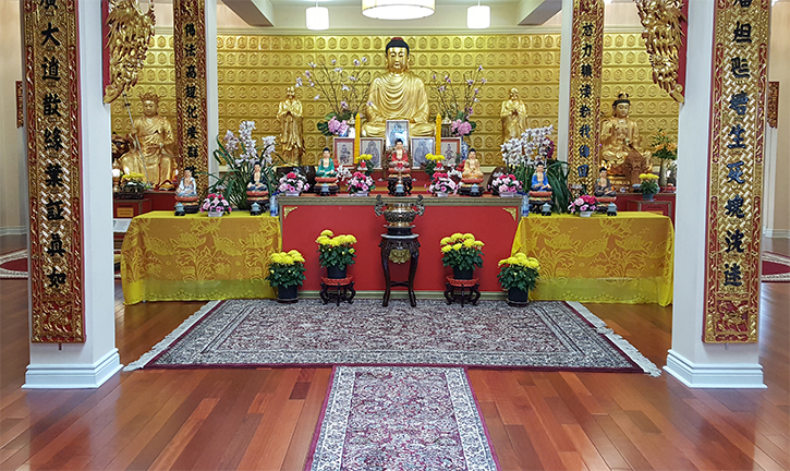 Machine Made carpets displayed in front of the Tu-Quang Pagoda buddist temple's main prayer room in east Montreal.