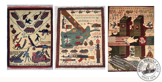 Examples of three small afghan war rugs handmade in Afghanistan with pure wool circa 1992