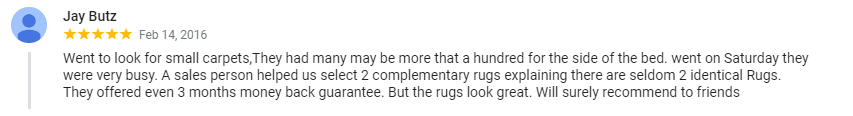Five star testimonial received from a very happy customer after purchasing an area rug at our Montreal rug store.