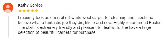 Five star carpet sale testimonial from a very happy customer.